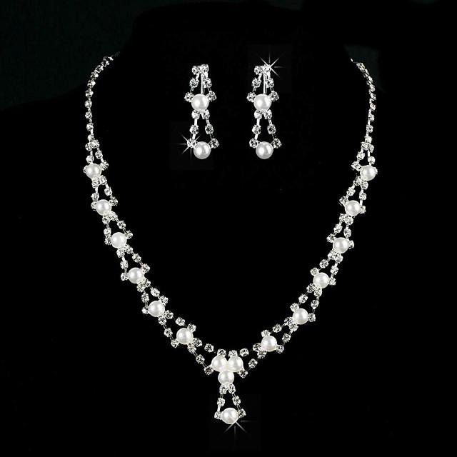 aliaj uimitoare cu stras / imitație set de bijuterii perla femei, inclusiv colier, cercei