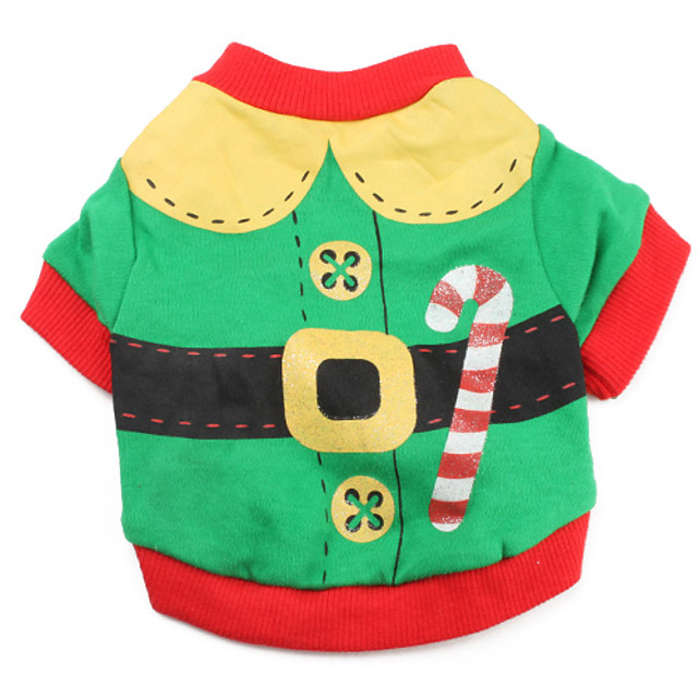 Pisici Câine Costume Tricou Bloc Culoare Mos Craciun Cosplay Crăciun Iarnă Îmbrăcăminte Câini Respirabil Rosu Verde Costume Bumbac XS S M L