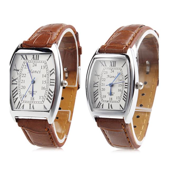 Pentru cupluri Ceasuri de lux Ceas de Mână Piața de ceas Japoneză Quartz potrivire Și ea Piele PU Matlasată Maro Ceas Casual femei Charm Modă Un an Durată de Viaţă Baterie / SSUO SR626SW