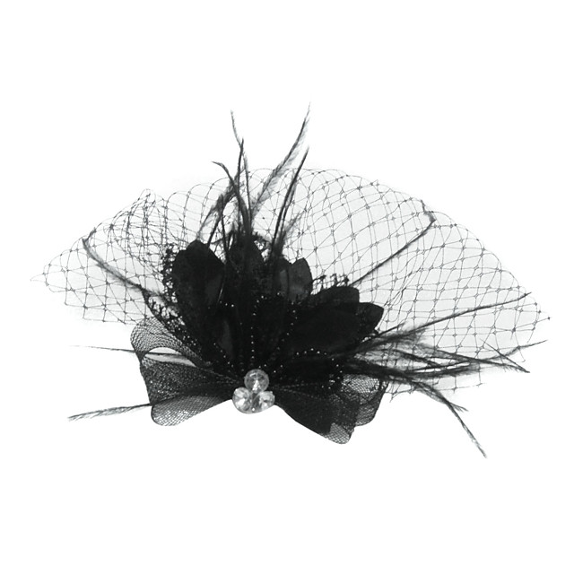 Tul / Cristal / Pană Diademe / Văluri în cușcă cu 1 Nuntă / Ocazie specială / Petrecere / Seara Diadema / Material Textil