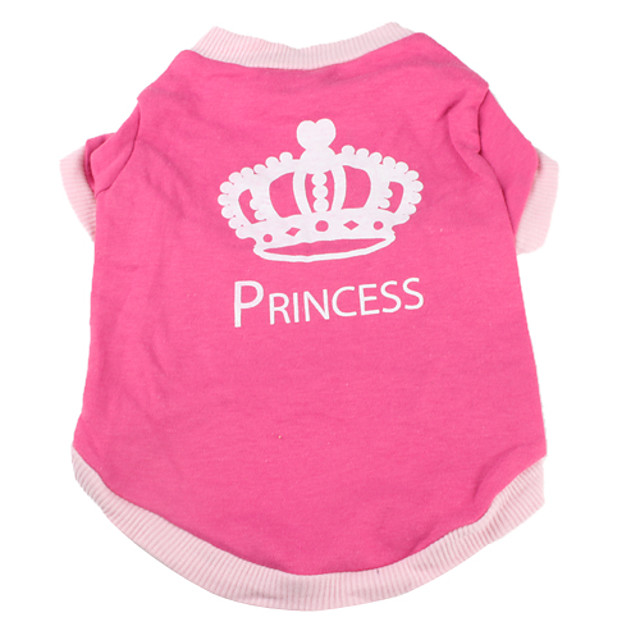 Dog Shirt / T-Shirt Tiaras & Crowns Dog Clothes Breathable Pink Costume Cotton XS S M L