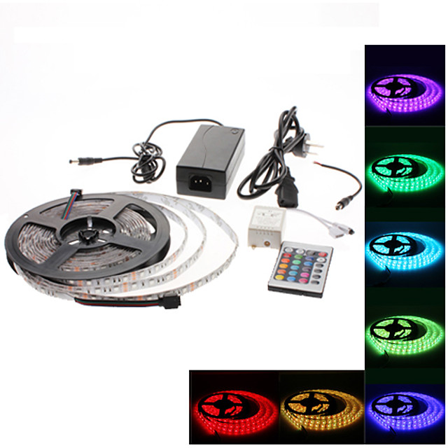 5m Fâșii De Becuri LEd Flexibile / Bare De Becuri LED Rigide / Fâșii RGB 300 LED-uri 3528 SMD RGB Schimbare - Culoare 100-240 V