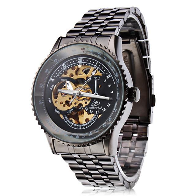 SHENHUA สำหรับผู้ชาย นาฬิกาเห็นกลไกจักรกล ไขลานอัตโนมัติ สแตนเลส ดำ แกะสลักกลวง ระบบอนาล็อก