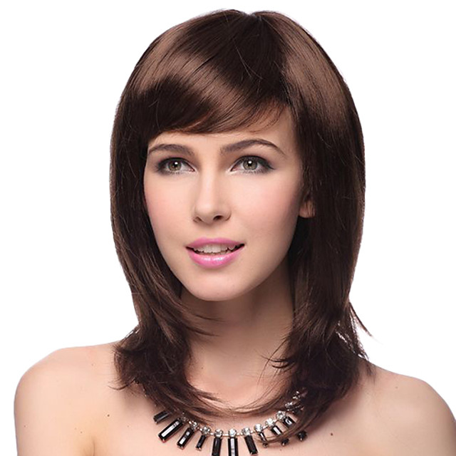 Synthetic Wig Straight Straight Layered Haircut With Bangs Wig Medium Length Darkest Brown Brown Black Gold / Brown Synthetic Hair Women's Natural Hairline Red