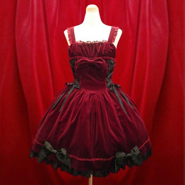 Fete Gothic Lolita Aristocrat Lolita Rochii Negru Rosu Lungime scurtă Rochie Lolita Accesorii / Lolita Stil Gotic