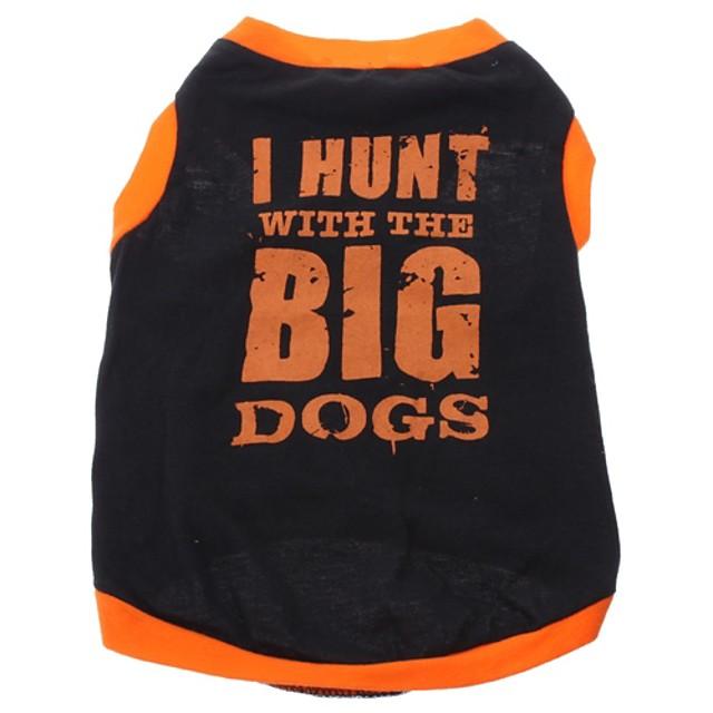 Câine Tricou Literă & Număr Îmbrăcăminte Câini Respirabil Negru Costume Bumbac XS S M L