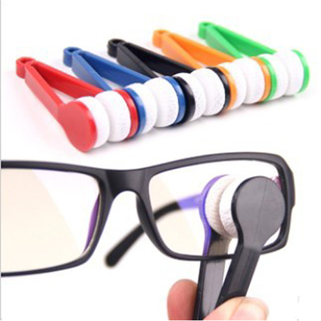 Eyeglasses Cleaner Portable Multi-function Microfiber ABS 1 pc Black Yellow Red Solid Colored Travel Accessory