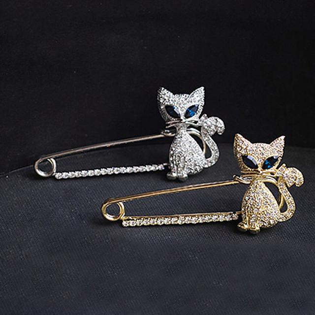 Cristal Broșe Pisici Animal femei Lux Petrecere Casual Modă Diamante Artificiale Broșă Bijuterii Auriu Argintiu Pentru Petrecere Ocazie specială Zi de Naștere Cadou Zilnic