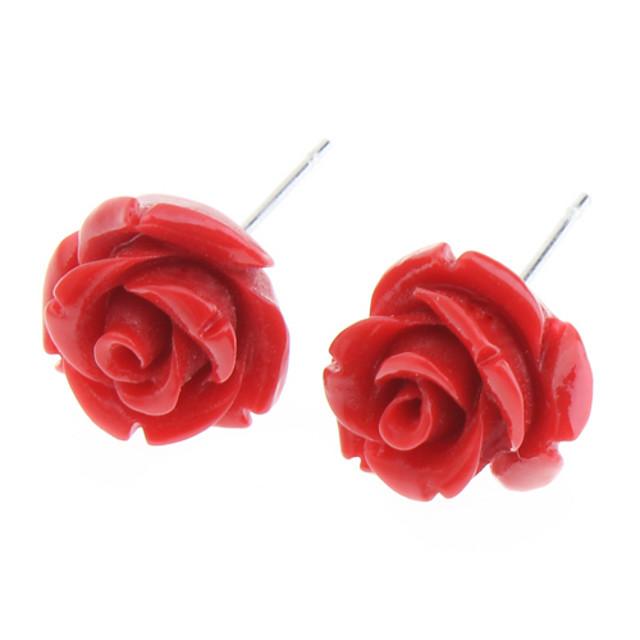 Pentru femei Cercei Stud Trandafiri Floare femei Teak cercei Bijuterii Alb / Galben / Rosu Pentru Zilnic