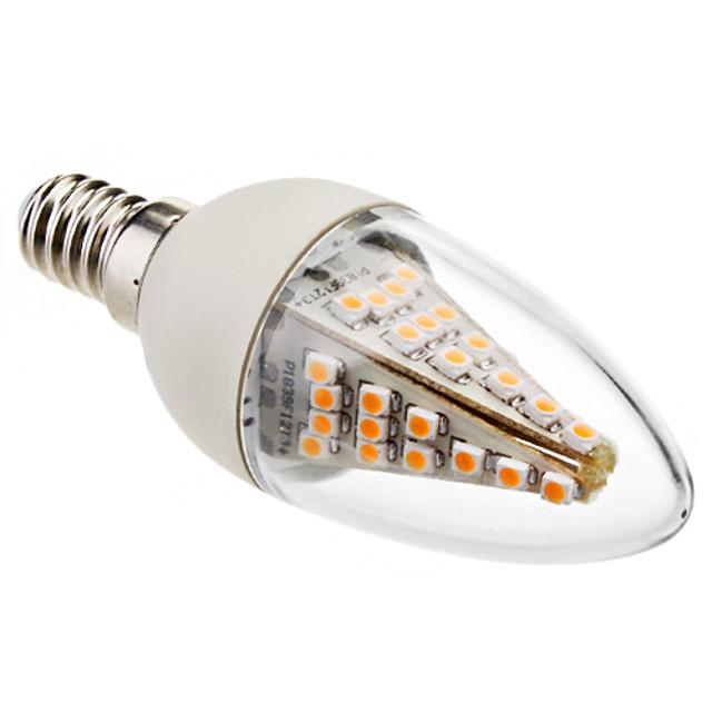 1 buc 3 W Becuri LED Lumânare 130-180 lm E14 C35 48 LED-uri de margele SMD 5050 Decorativ Alb Cald 220-240 V