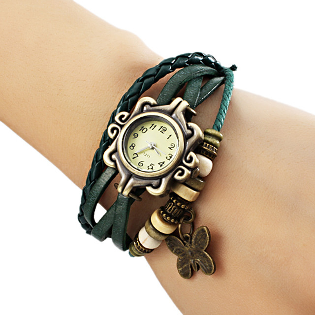 Pentru femei femei Ceas Brățară ceasul cu ceas Quartz Piele PU Matlasată Negru / Albastru / Maro Ceas Casual Analog Fluture Boem Modă - Maro Verde Albastru Un an Durată de Viaţă Baterie / Jinli 377