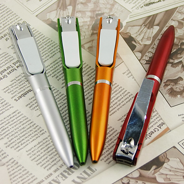 Nail Clippers Blue Ink Rotation Ballpoint Pen(Random Color)