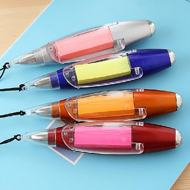Self-Stick Note Flashlight Ballpoint Pen(Random Color)