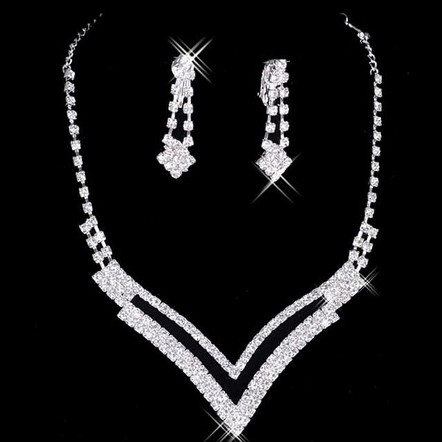 Pentru femei Seturi de bijuterii femei Elegant de Mireasă cercei Bijuterii Argintiu Pentru Nuntă Petrecere Ocazie specială Aniversare Zi de Naștere Logodnă / Cercei / Coliere