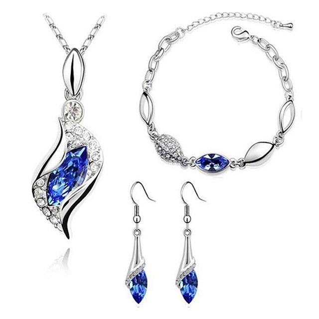 Pentru femei Safir Cristal citrin Seturi de bijuterii Cercei Picătură Coliere cu Pandativ Solitaire Marchiză femei De Bază Modă Elegant Italiană De Fiecare Zi Cristal Ștras Diamante Artificiale cercei