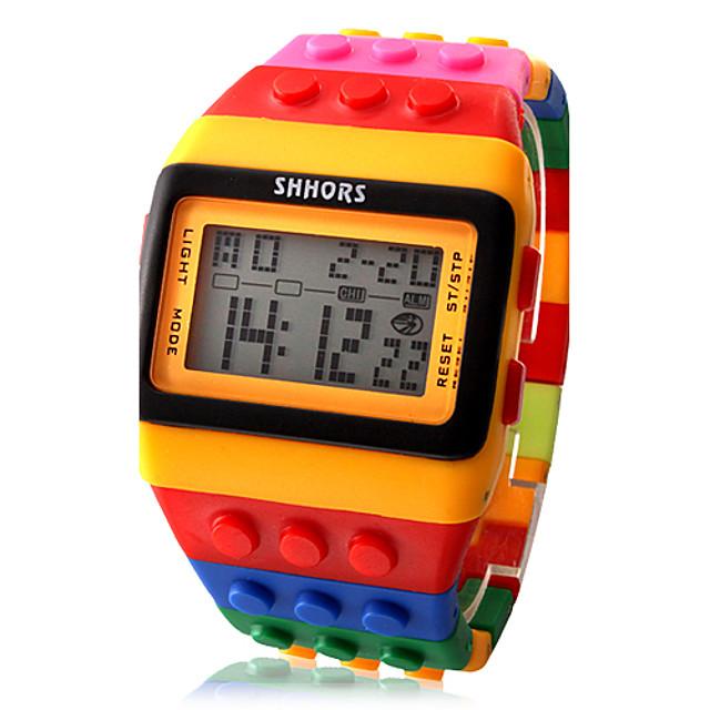Bărbați Pentru femei Ceas digital Piața de ceas Piloane de Menținut Carnea cărămizi de bloc Multicolor Alarmă Calendar Cronograf LED Piloane de Menținut Carnea Prăjit Modă Mândrie LGBT - Negru / Alb