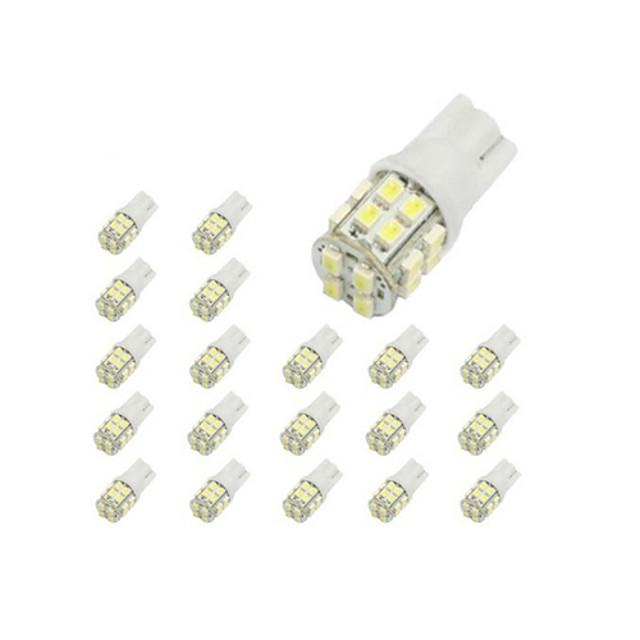 LORCOO 10pcs T10 Mașină Becuri 2 W SMD 3020 150 lm 20 LED Luminile de margine laterale Pentru