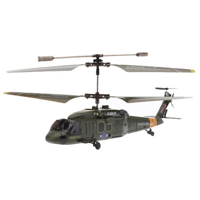SYMA S102G 3.5 canale infraroșu control de la distanță Mini elicopter cu Gyro (Armata verde, 6xAA)