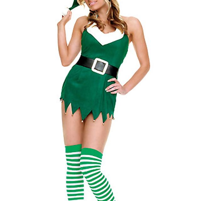 Costume Moș Costume Cosplay Pentru femei Crăciun Festival / Sărbătoare Catifea cord Pentru femei Costume de Carnaval Peteci / Rochie / Centură / Pălărie / Rochie / Centură