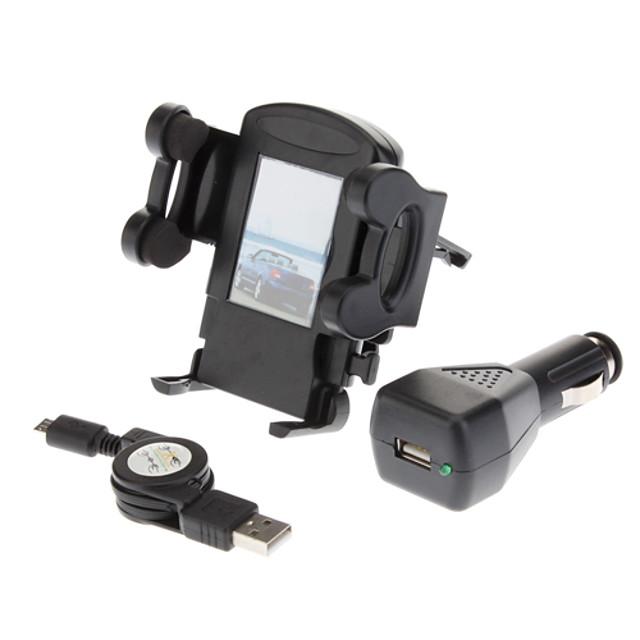 Air Vent bilholder + Black Billader + Kabel USB for Samsung Galaxy S4 i9500/S3 i9300