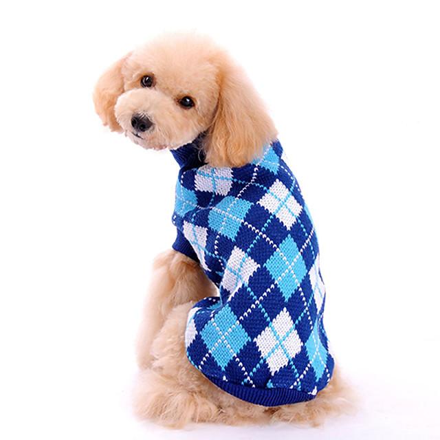 Psy Sweter Ubrania dla szczeniąt Plaid / Sprawdź Klasyczny Moda Zima Ubrania dla psów Ubrania dla szczeniąt Stroje dla psów Niebieski Kostium dla dziewczynki i chłopca Wełniany XS S M L XL
