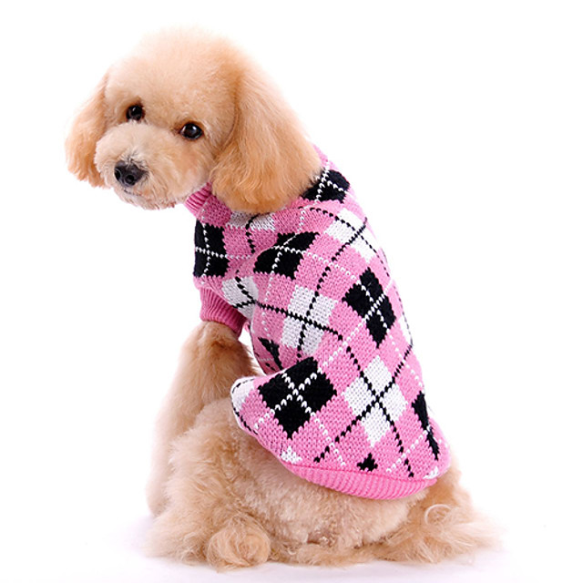 Chien Pull Vêtements pour chiots Tartan Garder au chaud Hiver Vêtements pour Chien Vêtements pour chiots Tenues De Chien Rose Costume pour fille et garçon chien Laineux XS S M L XL