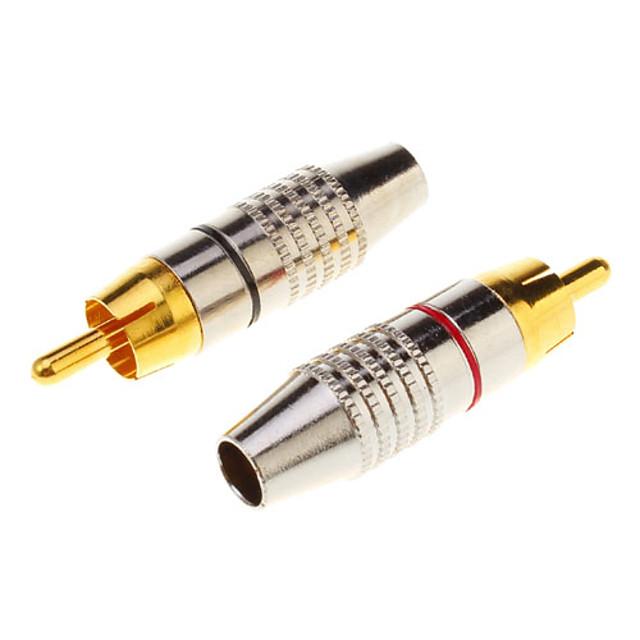 1 pereche cablu RCA cablu audio conector masculin adaptor de aur în șurub, sudură liberă