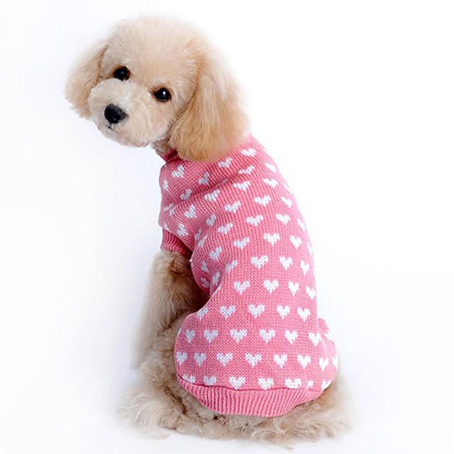 스웨터 강아지 옷 심장 따뜻함 유지 겨울 강아지 의류 강아지 옷 개 의상 핑크 코스츔 여아 소녀와 소년 개 울 XS S M L XL XXL