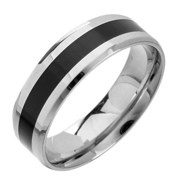 Pentru femei Band Ring Argintiu / negru Oțel titan Oțel Tungsten stil minimalist Bijuterii inițială Zilnic Casual Bijuterii