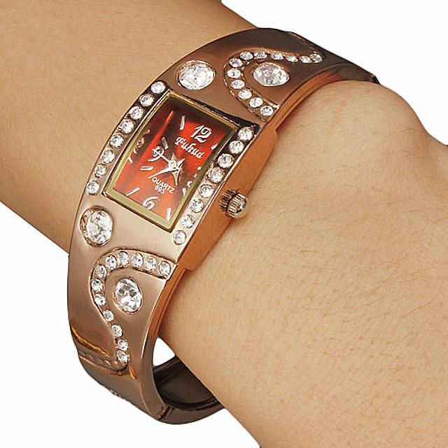 Femei Diamante Piața Dial Brown Band aliaj Analog cuarț bratara ceas