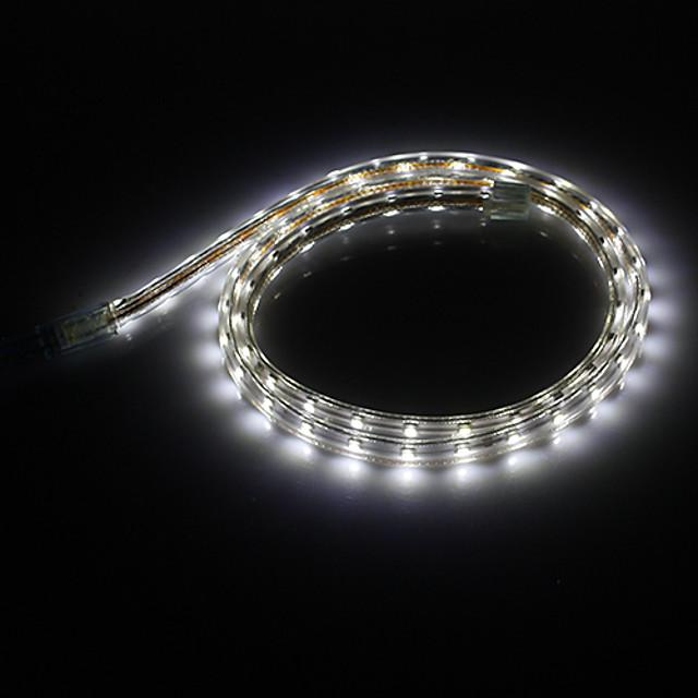 1m Fâșii De Becuri LEd Flexibile 60 LED-uri 3528 SMD 3014 SMD 1 buc Alb Petrecere Decorativ Crăciun decor de nunta 220-240 V