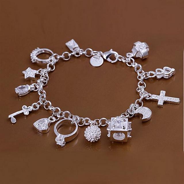 Pentru femei Brățări cu Talismane Argilă Σταυρός MOON Inimă femei Personalizat Design Unic Modă Brățări Bijuterii Argintiu Pentru Cadouri de Crăciun Nuntă Petrecere Zilnic Casual Sport / Αστέρι