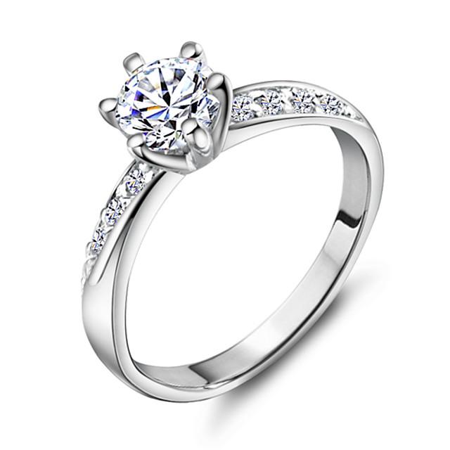 Pentru femei Band Ring Argintiu Articole de ceramică Placat cu platină 18K Aur Nuntă Petrecere Bijuterii simulat / Ștras / Aliaj