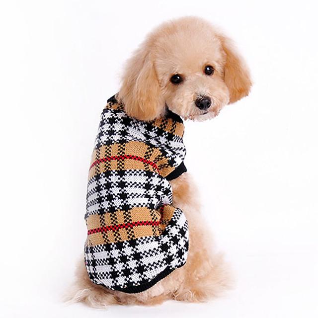 Pisici Câine Pulovere Tartan / Carouri Clasic Keep Warm Iarnă Îmbrăcăminte Câini Maro Costume De Lână XS S M L XL