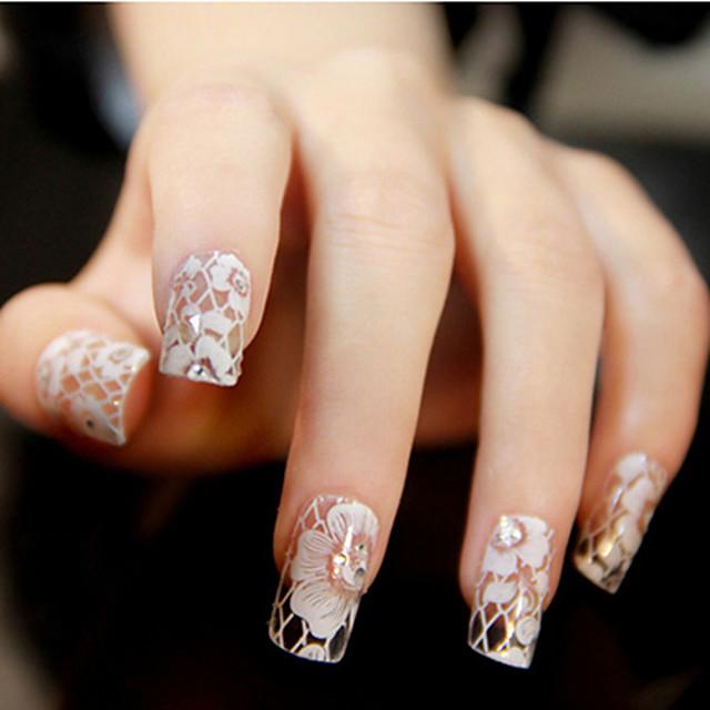 12 pcs Încântător ABS 3D Acțibilduri de Unghii Lace Stickers Pentru deget nail art pedichiura si manichiura Zilnic Floare / Nuntă / Modă / 3D pentru autocolante