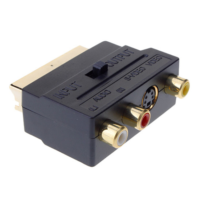 yongwei scart la compozit 3rca s-video av tv adaptor audio