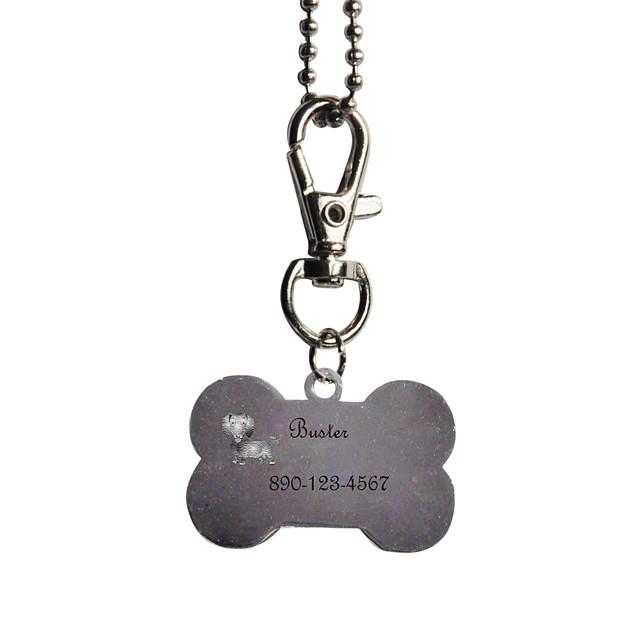 Personalizate cadouri Bone Forma roz și negru Pet Id Name Tag cu lanț pentru câini