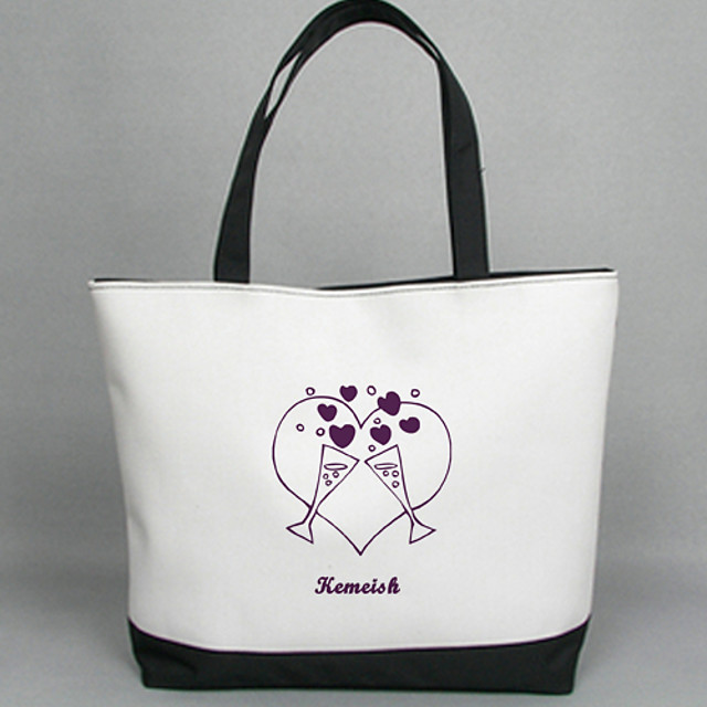 Personalized Gift Canvas Goblet Pattern Horizontal Flat Tote Bag with Capital Letter