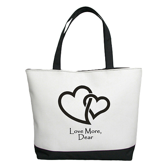 Personalized Gift Canvas Love Pattern Horizontal Flat Tote Bag