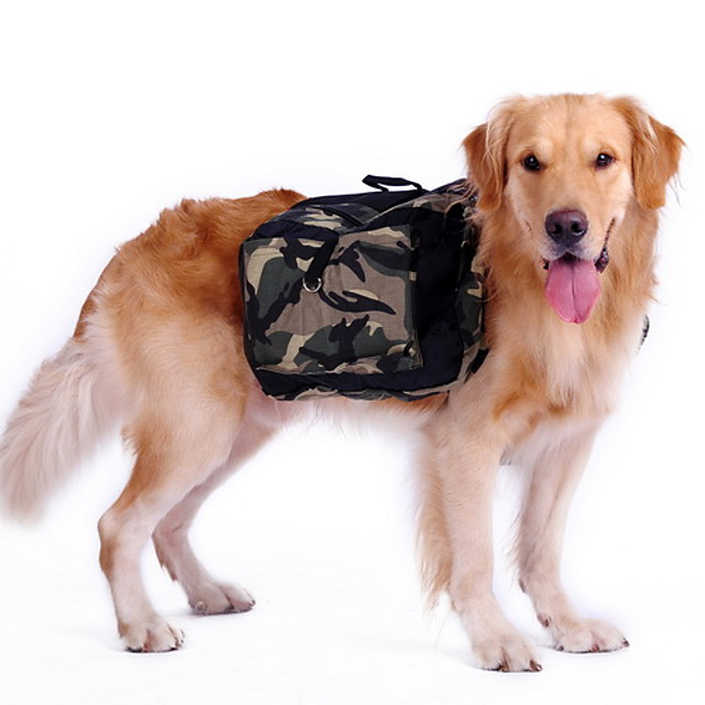 Câine Rucsac Câini Geantă pentru șa de câine camuflaj Nailon Husky Labrador Malamute de Alasca Verde