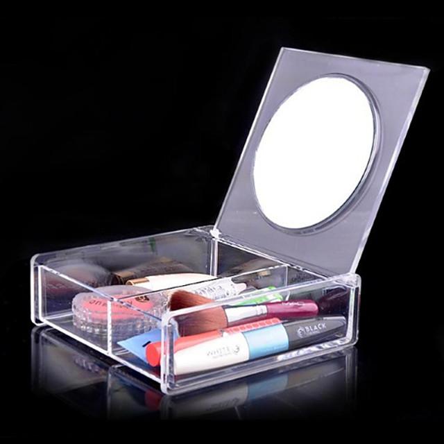akryyli läpinäkyvä quadrate 1x2 kosmetiikka säilytyslaatikko peili kosmeettisia järjestäjä