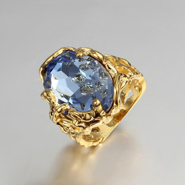 Pentru femei Inel de declarație Inel de logodna Zirconiu Cubic 1 buc Albastru Zirconiu Cubic Placat Auriu 18K Aur femei Lux Nuntă Petrecere Bijuterii Solitaire Oval Iubire Inel de coctail Magie