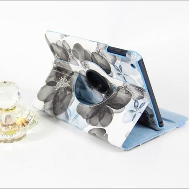 Maska Pentru Apple iPad Mini 3/2/1 Rotație 360 ° / Cu Stand / Auto Sleep / Wake Carcasă Telefon Floare PU piele