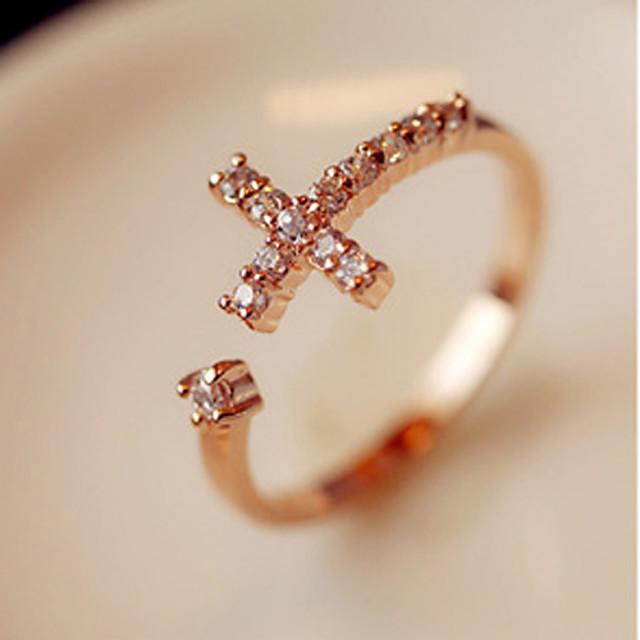 Pentru femei Band Ring inel de înfășurare Auriu Ștras Aliaj Neobijnuit Design Unic Deschis Petrecere Zilnic Bijuterii În cruce lateral Σταυρός Ajustabil