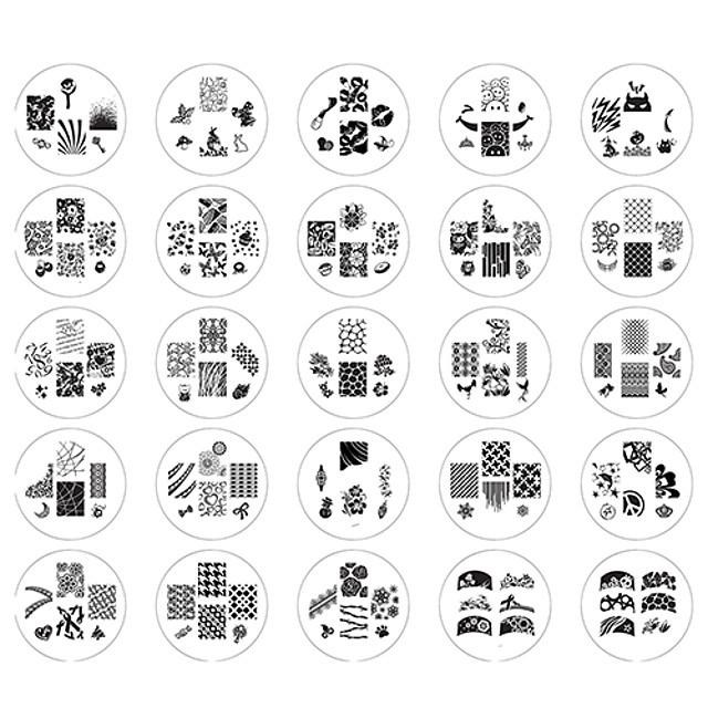 25pcs MetalPistol Pentru deget deget de la picior nail art pedichiura si manichiura Abstract / Clasic Zilnic / ștampilare Placă