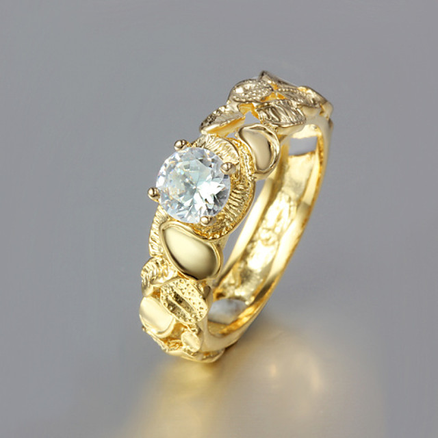 Statement Ring Verguld Geel goud Dames 6 7 8 9 / Strass
