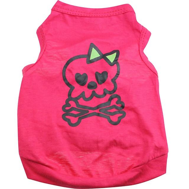 Pisici Câine Tricou Îmbrăcăminte Câini Respirabil Trandafiriu Costume Bumbac Cranii Halloween XS S M L