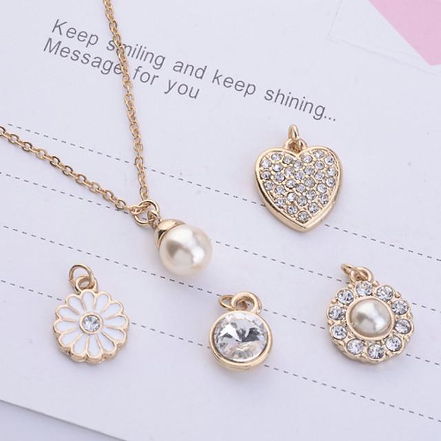 Pentru femei Perle Coliere cu Pandativ femei Imitație de Perle Ștras Placat Auriu Auriu Coliere Bijuterii 5pcs Pentru Petrecere Zilnic Casual