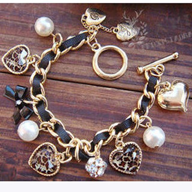 Pentru femei Perle Brățări cu Talismane Inimă Iubire Nod Funda femei Lux European Perle Bijuterii brățară Auriu / Negru Pentru Cadouri de Crăciun Petrecere Zilnic Casual / Imitație de Perle