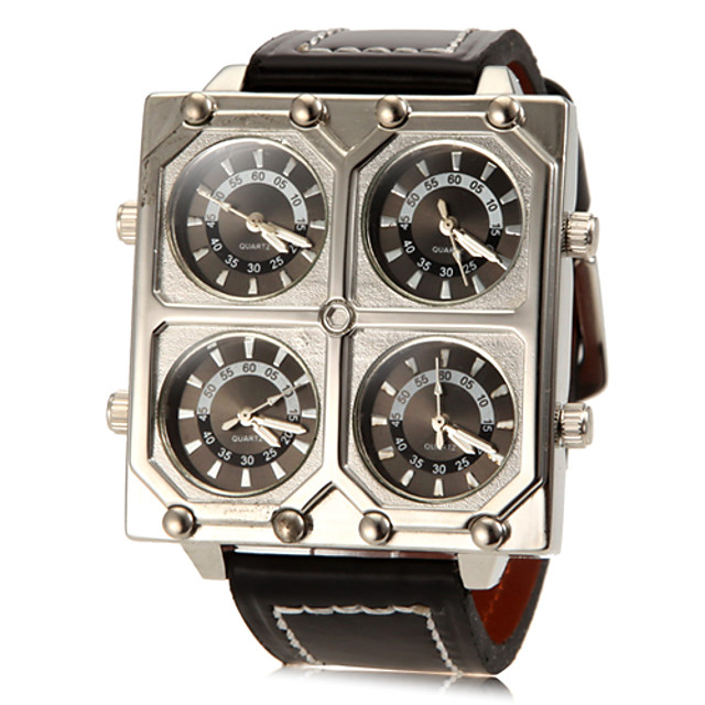 Men's Military Watch Quartz Quilted PU Leather Black Casual Watch Analog Charm - Silver Two Years Battery Life / SOXEY SR626SW